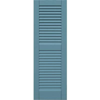 Wood Composite 15 in. x 45 in. Louvered Shutters Pair #645 Harbor