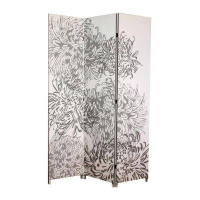 nexxt Bota 71 in. x 47.5 in. x 1 in. 3-Panel Taupe and Ivory Chrysanthemum Design Canvas Room Divider
