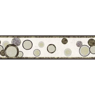 6.75 in. x 15 ft. Black, Gold and Silver Contemporary Circles Border