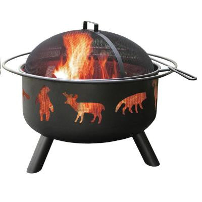24 in. Big Sky Wildlife Fire Pit in Black with Cooking Grate