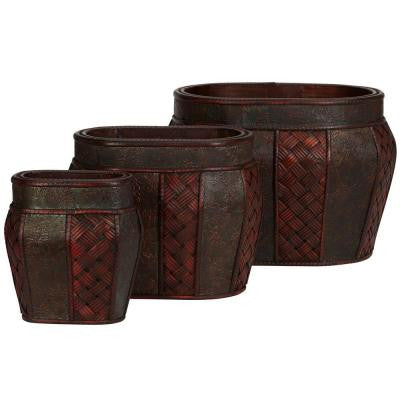 13 in. H Burgundy Oval Decorative Planter (Set of 3)