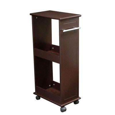 16 in. W Rolling Side Cabinet with Shelves in Espresso