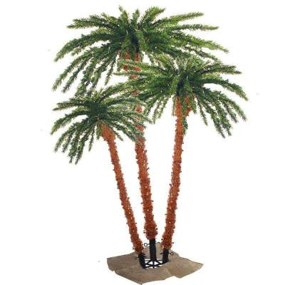 Pre-Lit Palm Artificial Christmas Tree with Clear Lights (Set of 3)