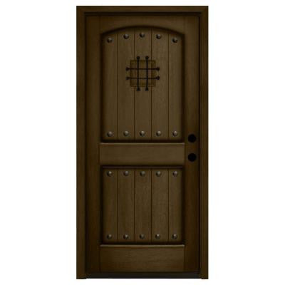 36 in. x 84 in. Rustic 2-Panel Speakeasy Stained Mahogany Wood Prehung Front Door