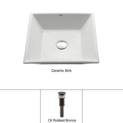Vessel Sink in White with Pop up Drain in Oil Rubbed Bronze