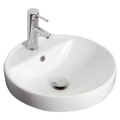 18.5-in. W x 18.5-in. D Drop In Round Vessel Sink In White Color For Single Hole Faucet
