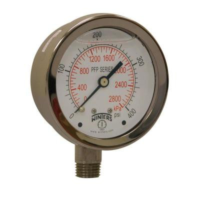 PFP Series 2.5 in. Stainless Steel Liquid Filled Case Pressure Gauge with 1/4 in. NPT LM and Range of 0-400 psi/kPa