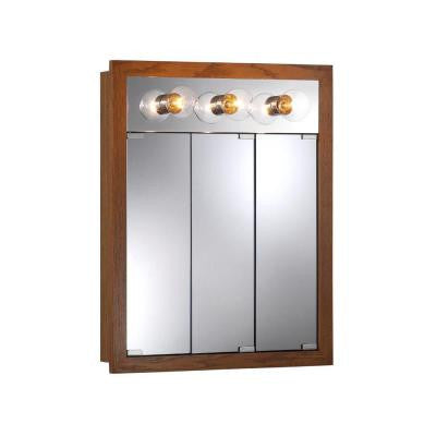Granville 24 in. W x 30 in. H x 4.75 in. D Mirrored Surface-Mount Medicine Cabinet in Honey Oak with 3 Bulb Light