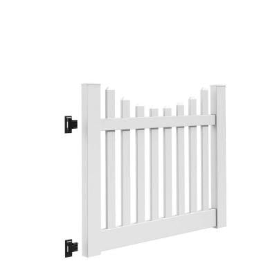 Kettle Scallop 5 ft. x 4 ft. White Vinyl Un-Assembled Fence Gate