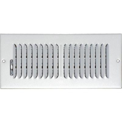 4 in. x 8 in. Ceiling/Sidewall Vent Register, White with 2-Way Deflection