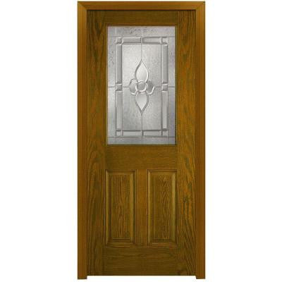 32 in. x 80 in. Master Nouveau Decorative Glass 1/2 Lite 2-Panel Finished Oak Fiberglass Prehung Front Door