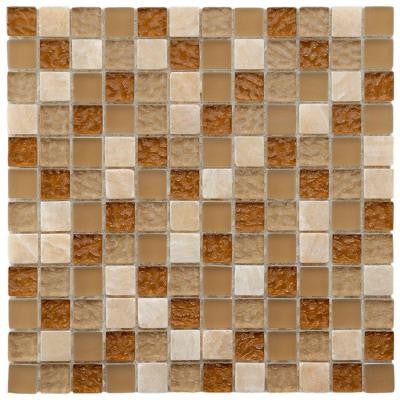 Tessera Square Amber 11-3/4 in. x 11-3/4 in. x 8 mm Glass Mosaic Wall Tile