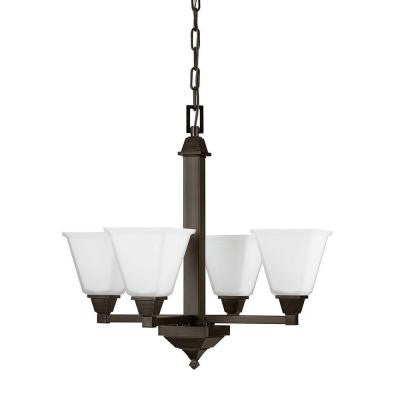 Denhelm 4-Light Burnt Sienna Chandelier with Inside White Painted Etched Glass