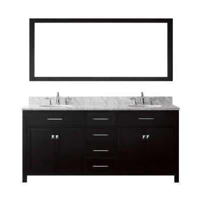 Caroline 72 in. Double Basin Vanity in Espresso with Marble Vanity Top in Italian Carrera White and Mirror