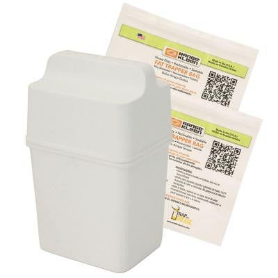 Fat Trapper with 2 Refill Bags Holds 32 fl. oz. Helps Dispose of Cooking Oil in White (3-Piece)