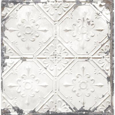 8 in. W x 10 in. H White Tin Ceiling Distressed Tiles Wallpaper Sample