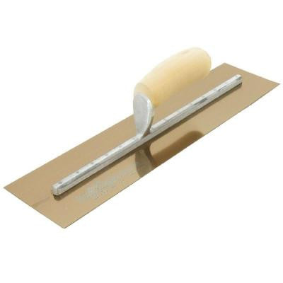 11 in. x 4-1/2 in. Golden Stainless Steel Curved Wood Handle Finishing Trowel