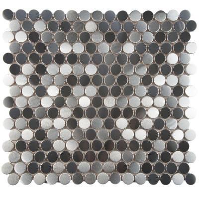 Alloy Penny Round 11-7/8 in. x 11-7/8 in. x 8 mm Stainless Steel Over Porcelain Mosaic Wall Tile