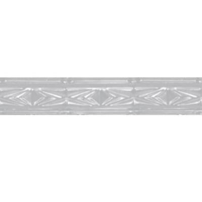 3 in. x 4 ft. Powder-Coated White Nail-up/Direct Application Tin Ceiling Cornice (6-Pack)