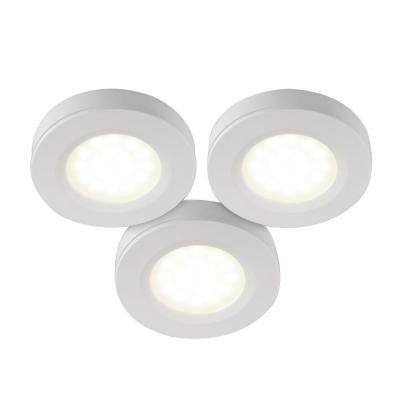 LED White Under Cabinet Puck Light (3-Pack)