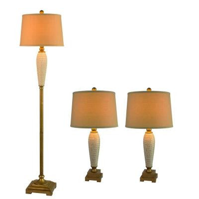 3-Piece Antique Gold Metal and Ivory Ceramic Lamp Set