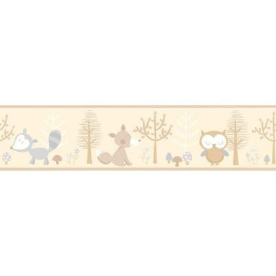 5.75 in. H Happy Forest Friends Taupe Border