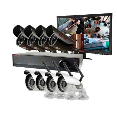 Lite 16-Channel 2TB 960H DVR Surveillance System with 4 Wireless Cameras, 4 Wired Cameras and Monitor