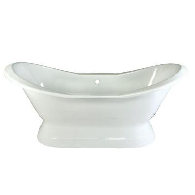 6 ft. Cast Iron Claw Foot Double Slipper Tub without Deck Holes in White