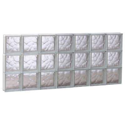 40.125 in. x 17.25 in. x 3.125 in. Wave Pattern Non-Vented Glass Block Window