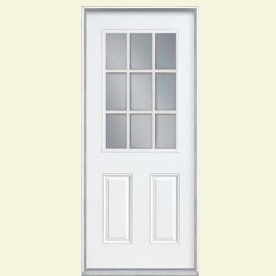 36 in. x 80 in. 9 Lite Primed Steel Prehung Front Door with No Brickmold