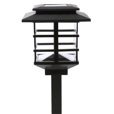 10-Light Plastic Black Solar LED Garden Light Set