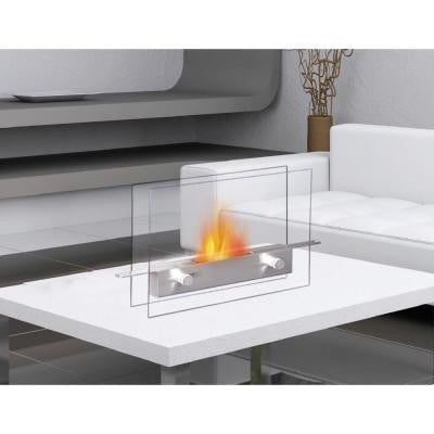 Metropolitan Tabletop Vent-Free Ethanol Fireplace in Stainless Steel/Tempered Glass