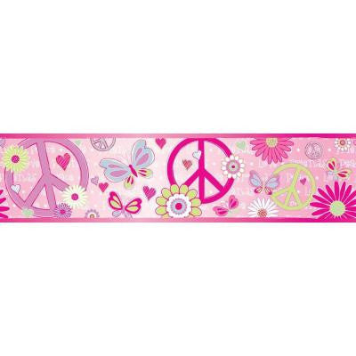 6 in. Love Child Border Pink Peace and Love Border