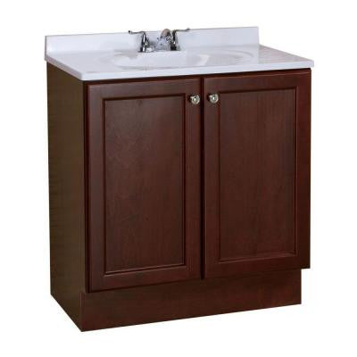All-In-One 30 in. W Vanity Combo in Chestnut with Cultured Marble Vanity Top in White