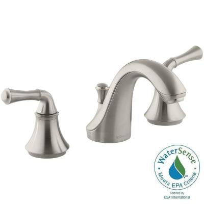 Forte 8 in. Widespread 2-Handle Low-Arc Bathroom Faucet in Vibrant Brushed Nickel with Traditional Lever Handles
