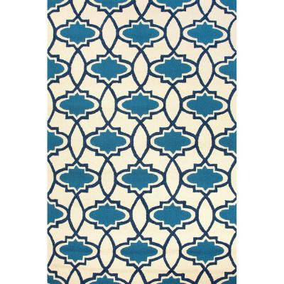 Hand Made True Blue 3 ft. 6 in. x 5 ft. 6 in. Moroccan Area Rug