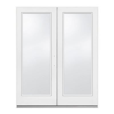 72 in. x 80 in. Primed White Left-Hand Inswing Low-E Tempered 1-Lite Fiberglass French Patio Door
