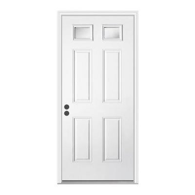 32 in. x 80 in. Premium 2 Lite Primed Steel Prehung Front Door with Brickmold