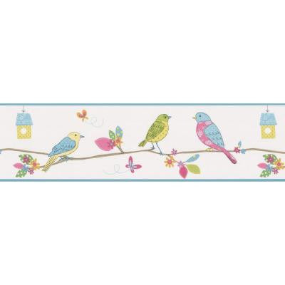 6.8125 in. Social Birdie White Quilted Birds Border