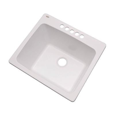 Wakefield Dual Mount Natural Stone Composite 25 in. 5-Hole Single Bowl Utility Sink in White