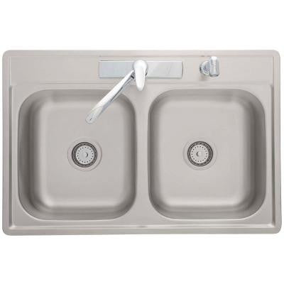 Top Mount Stainless Steel 33x22x7 4-Hole Double Bowl Kitchen Sink with Faucet