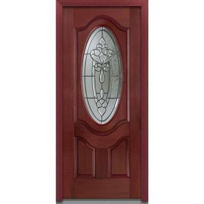 36 in. x 80 in. Fontainebleau 3/4 Oval Lite 2-Panel Finished Windsor Cherry Fiberglass Prehung Front Door