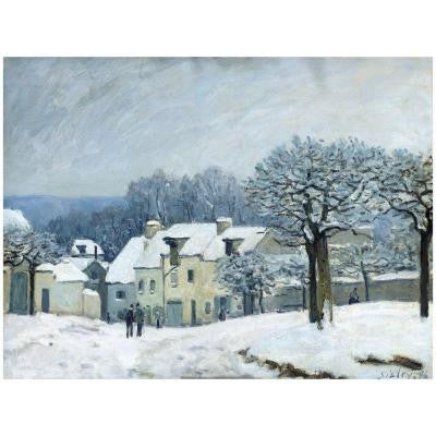 26 in. x 32 in. Place du Chenil, Snow, 1876 Canvas Art