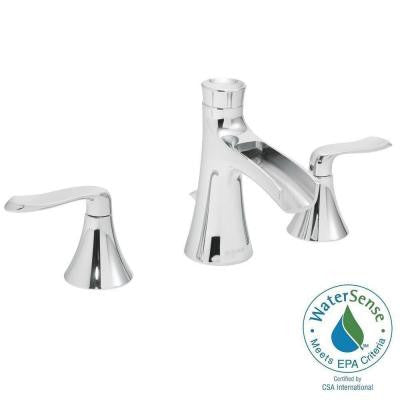 Caspian 8 in. 2-Handle Bathroom Faucet in Polished Chrome with Pop-Up Drain