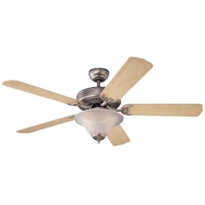 Homeowners Deluxe 52 in. Brushed Pewter Natural Maple Ceiling Fan
