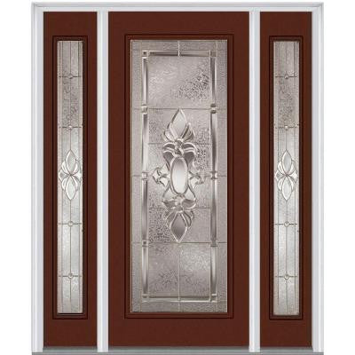 60 in. x 80 in. Heirloom Master Deco Glass Full Lite Painted Builder's Choice Steel Prehung Front Door with Sidelites