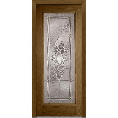36 in. x 80 in. Heirloom Master Decorative Glass Full Lite Finished Oak Fiberglass Prehung Front Door