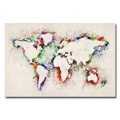 30 in. x 47 in. World Map - Paint Splashes Canvas Art