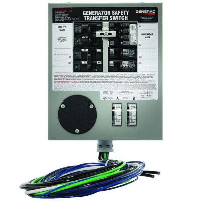 Prewired 30-Amp 7500-Watt Manual Transfer Switch for 6-10 Circuits