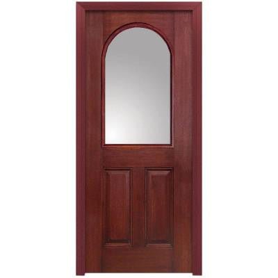 32 in. x 80 in. Classic Clear Glass 1/2 Arch Lite 2-Panel Finished Mahogany Fiberglass Prehung Front Door